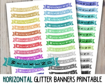 Horizontal glitter weekend banners printable instant download colorful weekend functional stickers for use with Erin Condren LifePlannerTM