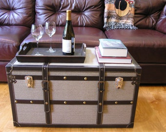 Charleston Steamer Trunk Wood Storage Wooden Treasure Chest