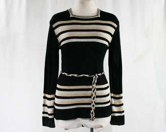 Size 6 Black Metallic Striped 1970s Sweater - 70s Disco Casual Pullover - Gold & Silver 70's Knit Top - Braid Belt - Bust 35.5 - 44970