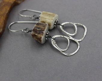 Antler Earrings, Unusual Earrings, Silver Hoop, Outdoors, Nature Lover Long Dangle Hoop Earrings, Sterling Silver, Funky Earrings, Boho