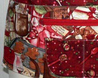 Xmas Vendor Apron with zipper pocket, Hot Chocolate Lotsa Pockets Apron, Holiday Teacher/ Waitress Apron, ready-to-ship today in this size