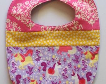 Unicorn bib baby girl baby bib baby clothes quilted bib baby gift pink purple bib girl toddler bib