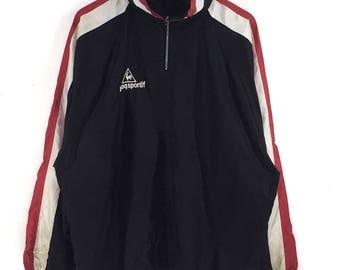 Le coq Sportif Sweatshirt Vintage 90s Windbreaker half zip small logo black colour le coq Sportif hoodie pullover sweatshirt jumper size L