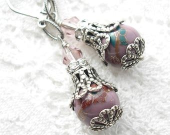 Lavender Porcelain Bead Earrings- Antiqued Silver Ox Earrings- Morning Glory Designs