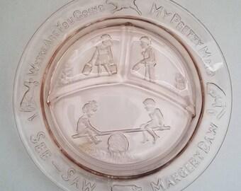 Vintage Mother Goose Childs Pink Plate