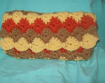 Crocheted Pouch  Bag Pencil Case Makeup Bag  Autumn Colors Carry All Bag