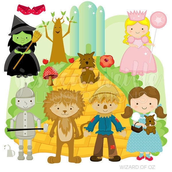 wizard of oz cute digital clipart for commercial or personal rh etsy com Wizard of Oz Lion Clip Art Wizard of Oz Birthday Clip Art