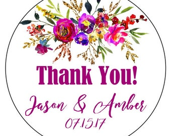 floral wedding thank you stickers, watercolor flower thank you stickers, custom flower thank you labels, purple pink gold flower stickers