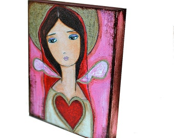 Heart of Gold-  Giclee print mounted on Wood (4 x 5 inches) Folk Art  by FLOR LARIOS