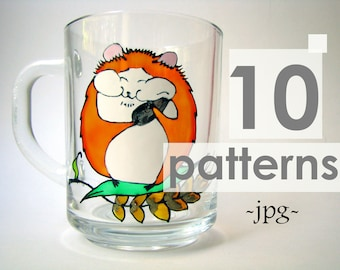 Animal pattern Printable coloring pages Hamster pattern Printable pattern Fall patterns Mug pattern Coloring Stain glass pattern Floral cup