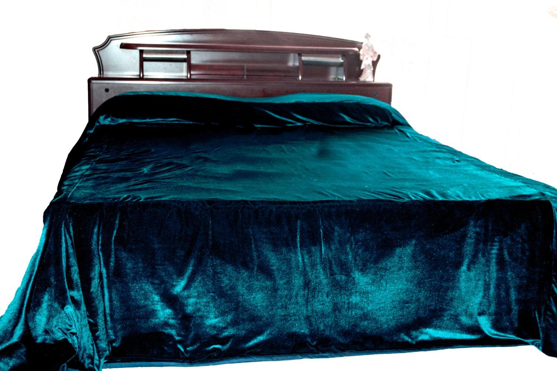 Luxury Teal Velvet Bedcover Couture Bed Linen In Luxe Velvet