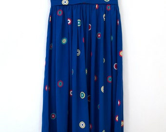 Bullseye Skirt — vintage silk skirt / vintage 1970s skirt / colorful mod skirt / blue silk skirt / silk midi skirt / silk polka dot skirt