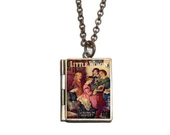Little Women Locket, Book Necklace, Louisa May Alcott Jewelry, Mini Book Book Necklace, Little Women Bookmark Keychain