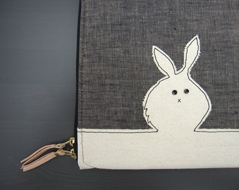 Laptop Case - Custom Size - Black Bunny/White Rabbit