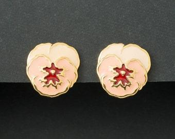 Vintage Pansy Earrings  Enameled