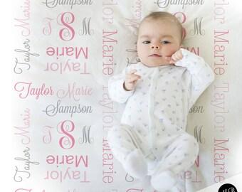 Baby girl monogram blanket, receiving swaddling blanket, girl monogram blanket , girl name blanket, pink and gray baby blanket 1007