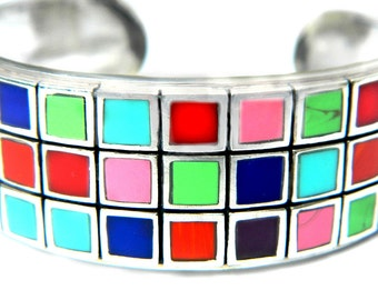 Multicolor Sterling Cuff Bracelet Modern Square Geometric Stone Quartz Vintage Thai Multi Stone Inlay Turquoise Lapis And More Gift For Her