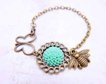 Bee bracelet, butterfly bracelet, bee jewelry, flower bracelet,  flower jewelry