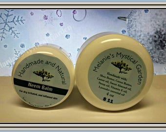 Neem Balm, Natural extreme moisturizing healing balm. Soothing, healing relief from dry damaged rough skin.