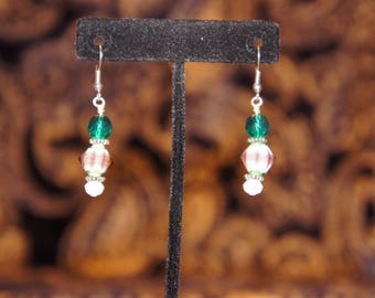 Green and gray bead dangle earrings