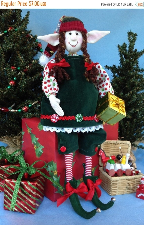 ON SALE Agnes - Cloth Doll E-Pattern 19in Christmas Girl Elf