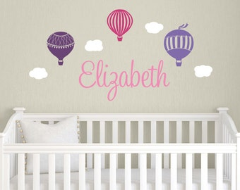 Hot Air Ballon Name Decal Set - Vinyl Wall Decal - Nursery Name Decal - Hot Air Balloon Decal - Children Wall Decal - Children Name Decal