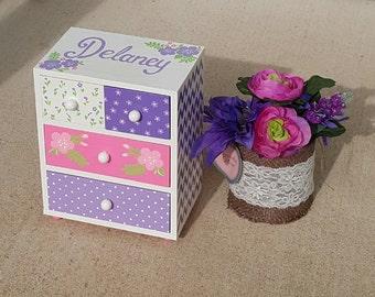 Girls Jewelry Box Personalized Pink and Purple Flower Girl Gift  Chevron Flowers