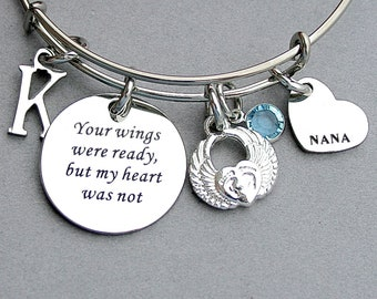 Your Wings Were Ready But My Heart Was Not Memorial Bangle, Personalize, Angel Wing Heart, loss of Grandchild, Bereavement Charm Bangle,Nana