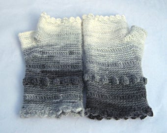 Gray and Cream Scalloped Fingerless Gloves crocheted feminine wrist warmers texting gloves