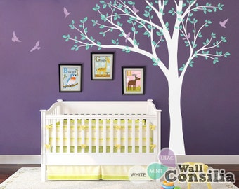 """White Tree Wall Decals Baby Nursery Tree Sticker Frame Hanging Tree Wall Sticker Tree Wall Art Mural  - Large: approx 93"""" x 100"""" - KC018"""