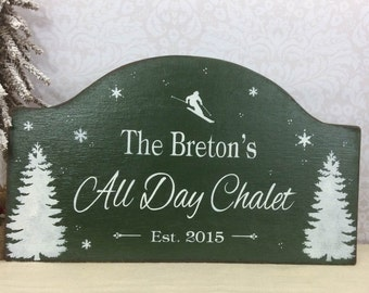 Ski House, ski lodge, chalet personalized winter wooden sign, rustic hand painted ski sign, custom cabin sign, winter cabin , vacation house