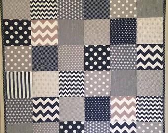 Heaven Sent handmade baby boy cot quilt pram playtime blanket navy blue grey stripe chevron check dots geometric baby shower gift