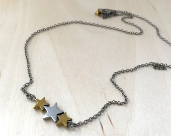 Hematite Star Necklace | Star Trio Necklace | Silver and Gold Star Pendant | Space Jewelry