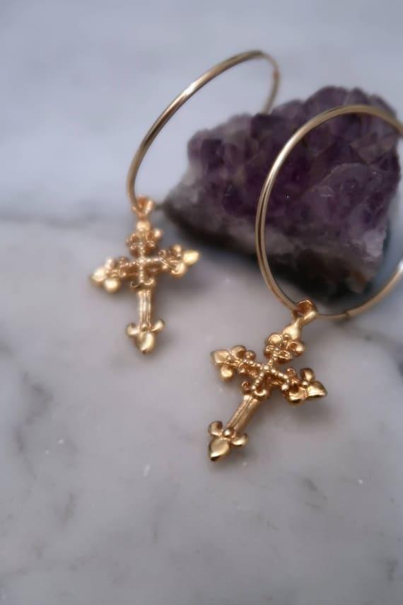 CROSS HOOPS Zep Cross Fleur Cross Dagger Cross Gold hoops