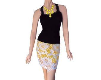 Yellow + White Crochet Skirt/Black Tank