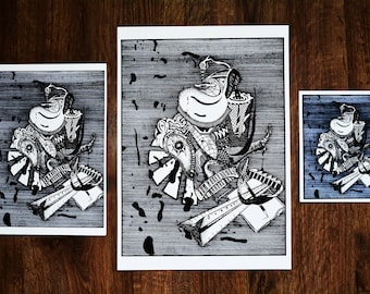 One to Five - A3 ART PRINT from original drawing on paper