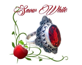 Snow White Solid Sterling Silver Garnet Size 6.5 Ring