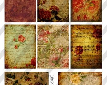 Digital Collage Sheet Vintage Floral  Background Images (Sheet no. O75) Instant Download