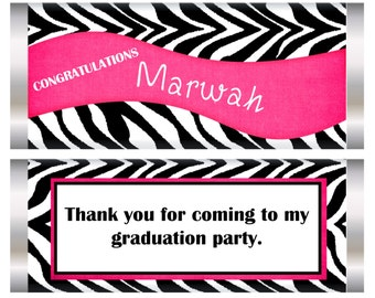 Pink Graduation Candy Bar Wrapper, Pink Graduation favors, graduation party favors, party favors, graduation. Set of 20