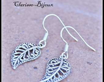 Leaf earrings silver, charm earrings metal earrings