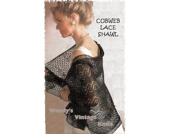 Instant Download PDF Knitting pattern to make a Fine Lace Cobweb Gossamer 1 ply Shetland Wool Shawl Shoulder Wrap Stole Wedding Evening