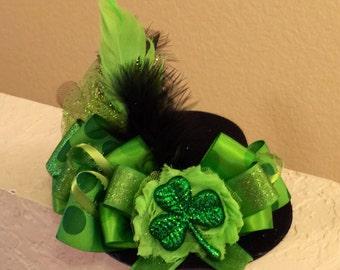 NEW - St. Patrick's Day Shamrock Hat - Green/Black Mini Top Hat Fascinator
