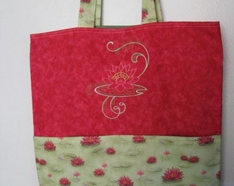 Damask Lotus Embroidered Eco Friendly Tote Bag, Shopping Bag, Grocery Bag