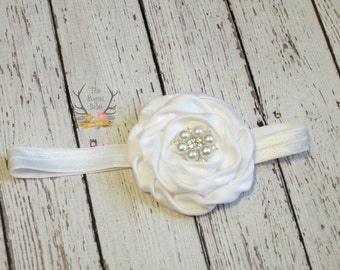 White Headband - Pearl Rhinestone Newborn Infant Baby Toddler Girls Adult Wedding Flower Girl