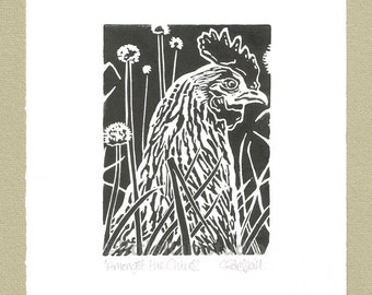 Hen - Amongst the Chives - Linocut Original hand pulled Relief Print