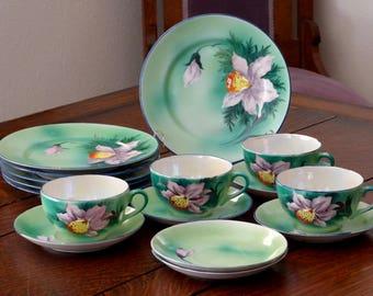 Orchid Tea Set Satsuma Lustreware Eggshell Porcelain, Tea Set Orchid Hand Painted Japan Green & Lavender