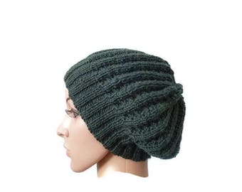 Lacy Slouchy Hat, Womens Knit Winter Hat, Green Beanie