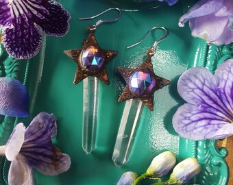 Lemurian Quartz Earrings - Clear Quartz Earrings with Copper Stars Iridescent Jewels - Magick Wand Clear Lemurian Quartz Earrings - Elaetra