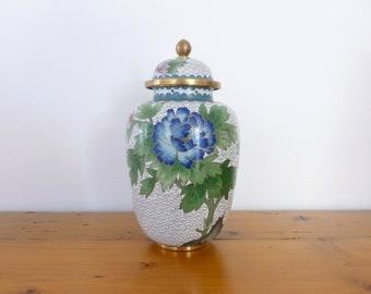 Vintage Chinese Brass Cloisonne Ginger Jar, Floral Ginger Jar, Mid Century, Vintage Decor, Home Decor, Asian Decor, Brassware, Floral Decor