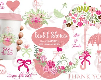 Wedding clipart, Bridal Shower clipart, Save the date clipart, Floral clipart, Umbrella clipart, commercial use, AMB-871